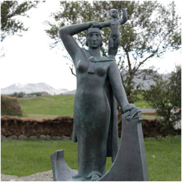 Statue in Iceland of Gudridur and her young son Snorri
